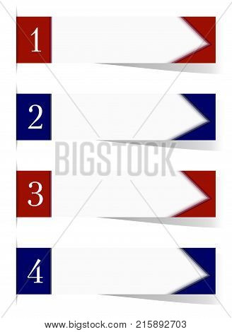 Four sticker labels with shadow and text space. Vibrant red and blue templates for headers banners pointers. White background paper sticky tape. Vector EPS10