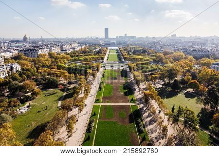 Aerial View On Paris City And Field Of Mars