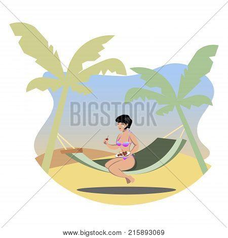 The girl sunbathes on the beach. Vector illustration.