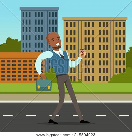 Happy African American man in formal clothing walking down the street with blue briefcase. Background with city buildings and green bushes. Office worker or clerk character. Flat style cartoon vector