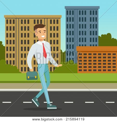 Smiling man walking down the street with blue briefcase. Male character in white shirt, red tie and blue trousers. City architecture background. Office worker on his way to work. Flat cartoon vector