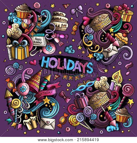 Colorful vector hand drawn Doodle cartoon set of holidays objects and symbols. All objects separate.
