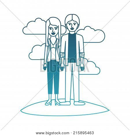 couple in degraded blue silhouette scene outdoor and her with blouse and jacket and pants and heel shoes with layered hair and him with shirt and jacket and pants and shoes with middle part hairstyle vector illustration