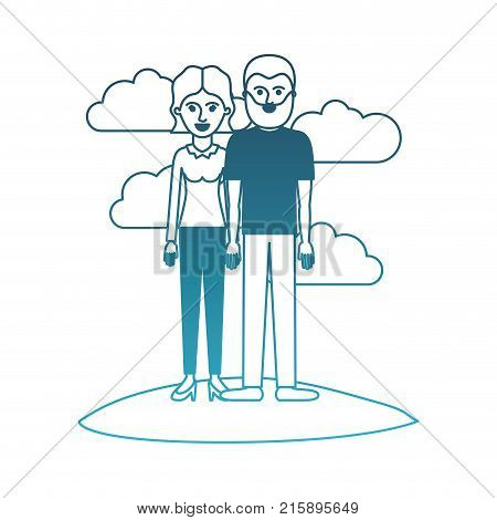 couple in degraded blue silhouette scene outdoor and her with blouse long sleeve and pants and heel shoes with short wavy hair and him with t-shirt and pants and shoes with short hair and beard vector illustration