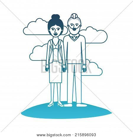 couple in degraded blue silhouette scene outdoor and her with blouse and jacket and skirt and heel shoes with collected hair and him with beard and sweater and pants and shoes with taper fade haircut vector illustration poster