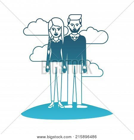 couple in degraded blue silhouette scene outdoor and her with blouse long sleeve and pants and heel shoes with braid and fringe hairstyle and him stubble beard and sweater and pants and shoes with side parted hairstyle vector illustration