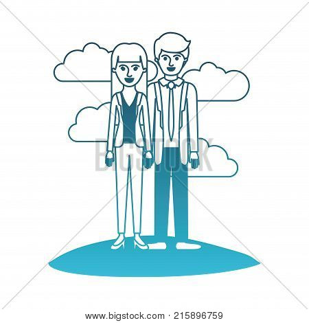 couple in degraded blue silhouette scene outdoor and her with blouse and jacket and pants and heel shoes with straight long hair and him with suit and tie and pants and shoes with short hair vector illustration