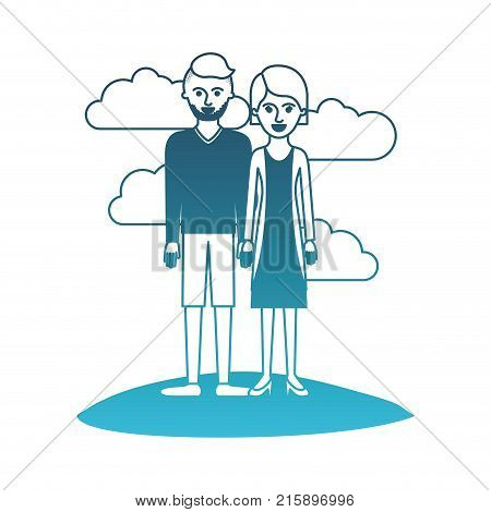 couple in degraded blue silhouette scene outdoor and him with t-shirt long sleeve and short pants and shoes with high fade haircut and stubble beard and her with blouse and jacket and skirt and heel shoes with short hair vector illustration