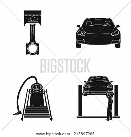 Car on lift, piston and pump black icons in set collection for design.Car maintenance station vector symbol stock illustration .