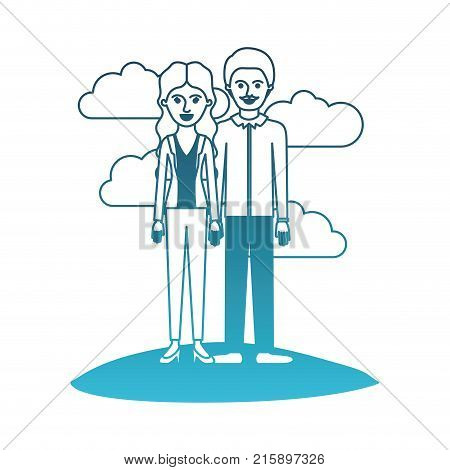 couple in degraded blue silhouette scene outdoor and her with blouse and jacket and pants and heel shoes with wavy long hair and him with shirt and pants and shoes with short hair and moustache vector illustration