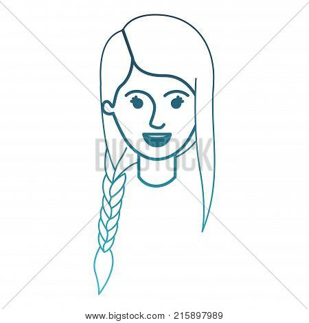 female face with braid and fringe hairstyle in degraded blue silhouette vector illustration
