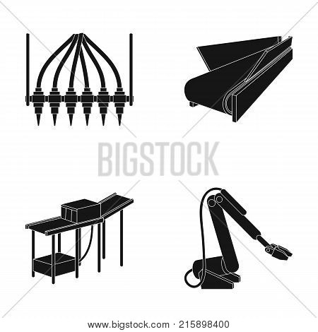 Modern equipment and other  icon in black style.Machine tools and equipment factory icons in set collection.