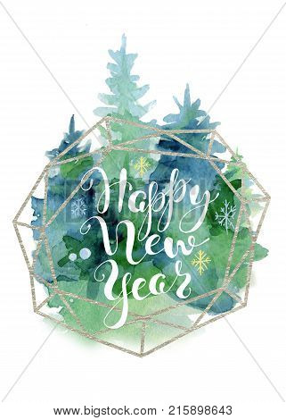 Christmas tree watercolor card with lettering quote Happy New Year Watercolor illustration