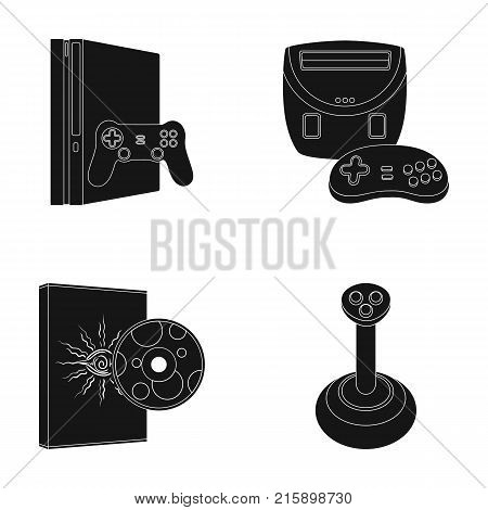 Game console, joystick and disc black icons in set collection for design.Game Gadgets vector symbol stock  illustration.