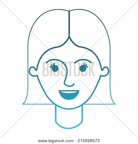female face with short straight hairstyle in degraded blue silhouette vector illustration