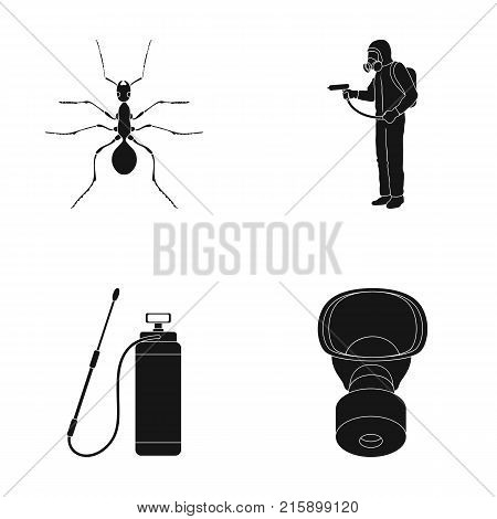 Ant, staff in overalls and equipment black icons in set collection for design. Pest Control Service vector symbol stock  illustration.