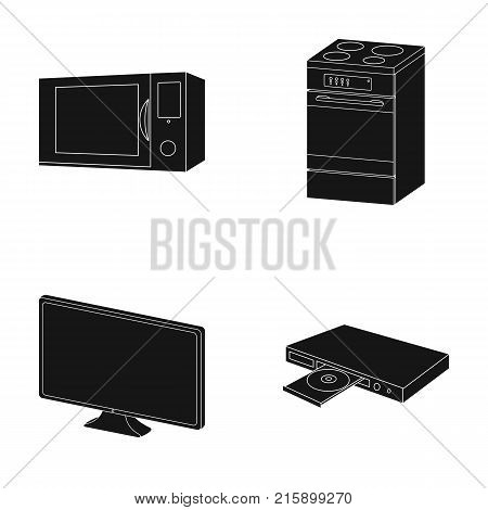 Home appliances and equipment black icons in set collection for design.Modern household appliances vector symbol stock  illustration.