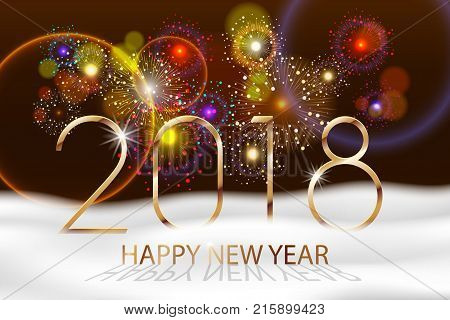 Vector Holiday Fireworks Background. Happy New Year 2018. Seasons greetings, colorful fireworks design. Vector illustration EPS 10