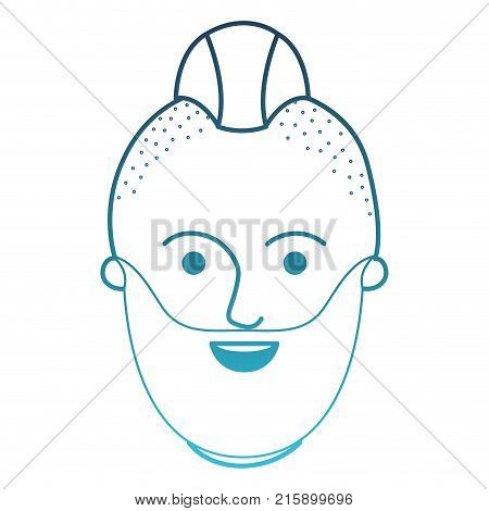 male face with taper fade haircut and beard in degraded blue silhouette vector illustration