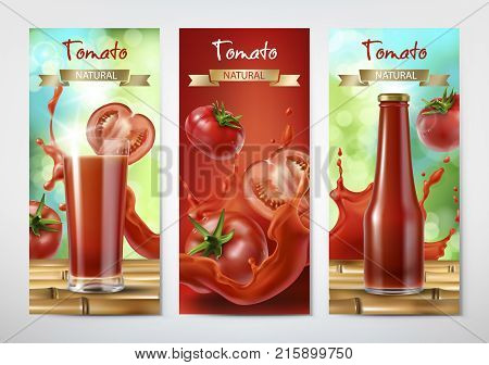 Tomato juice and ketchup ad. Drinking glass with juice and bottle with ketchup on background of whole and sliced tomatoes and splash of juice, realistic vector banners set. Package design template
