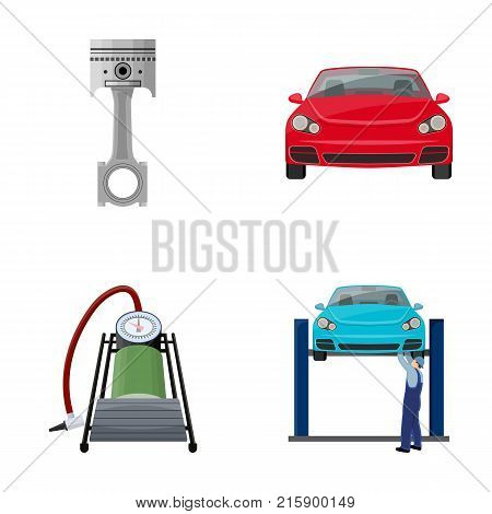 Car on lift, piston and pump cartoon icons in set collection for design.Car maintenance station vector symbol stock illustration .