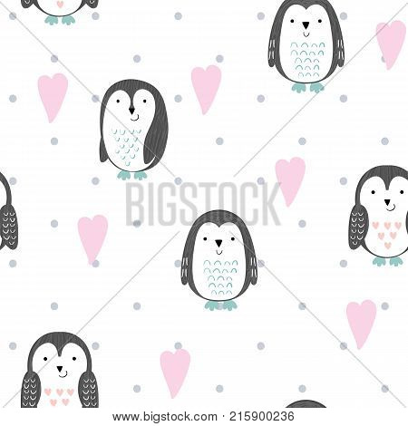 Vector seamless pattern with cute cartoon penguins