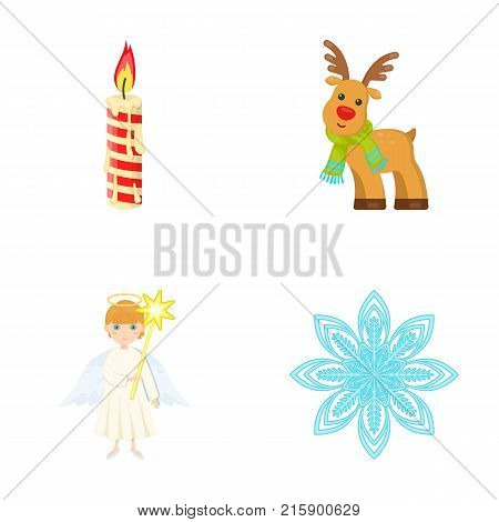 Christmas candle, deer, angel and snowflake cartoon icons in set collection for design. Christmas vector symbol stock  illustration.