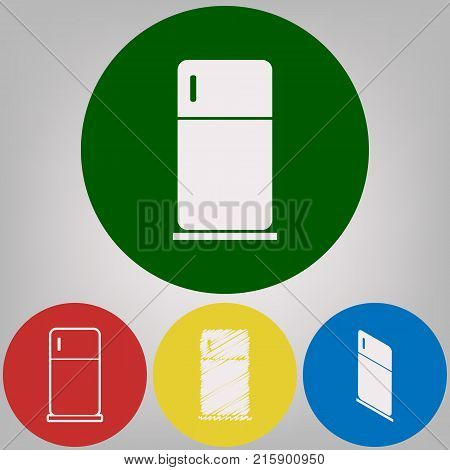 Refrigerator sign illustration. Vector. 4 white styles of icon at 4 colored circles on light gray background.