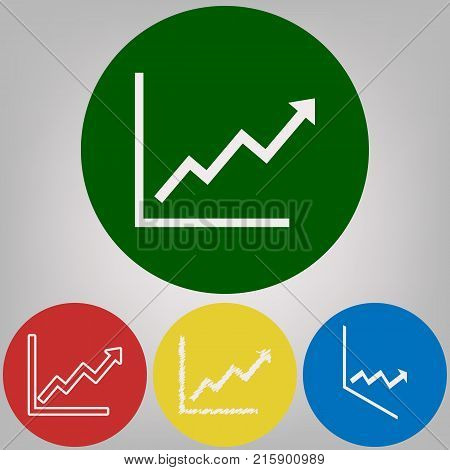 Growing bars graphic sign. Vector. 4 white styles of icon at 4 colored circles on light gray background.