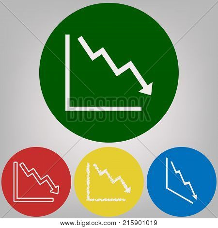 Arrow pointing downwards showing crisis. Vector. 4 white styles of icon at 4 colored circles on light gray background.