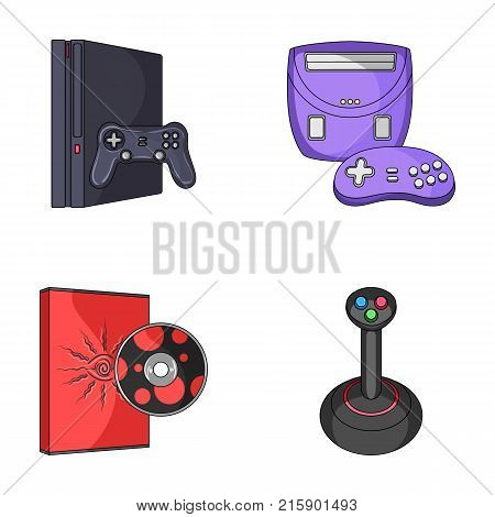 Game console, joystick and disc cartoon icons in set collection for design.Game Gadgets vector symbol stock  illustration.