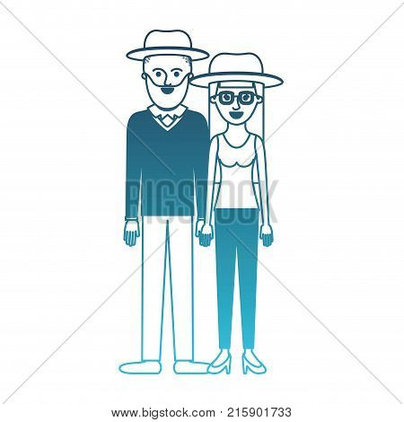 couple in degraded blue silhouette and both with hat and him with beard and sweater and pants and shoes and her with glasses t-shirt sleeveless and pants and heel shoes with long straight hair vector illustration