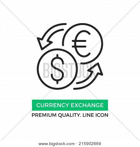 Vector currency exchange icon. Currency converter, foreign exchange rate concept. Premium quality graphic design element. Modern sign, linear pictogram, outline symbol, simple thin line icon