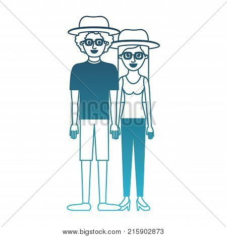 couple in degraded blue silhouette and both with hat and glasses and him with shirt and short pants and shoes and curly hair and her with blouse and pants and heel shoes with long straight hair vector illustration