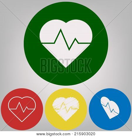Heartbeat sign illustration. Vector. 4 white styles of icon at 4 colored circles on light gray background.