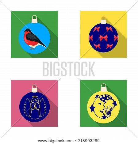New Year's Toys flat icons in set collection for design.Christmas balls for a treevector symbol stock illustration.