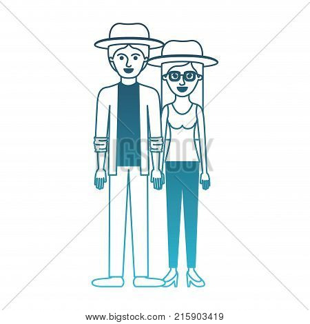 couple in degraded blue silhouette and both with hat and pants and him with shirt and jacket and pants and shoes and her with blouse and heel shoes with long straight hair vector illustration
