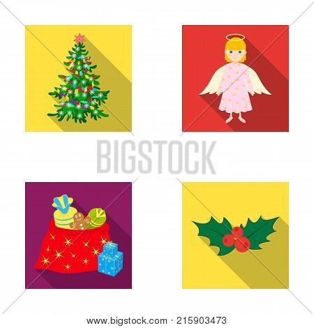 Christmas tree, angel, gifts and holly flat icons in set collection for design. Christmas vector symbol stock  illustration.