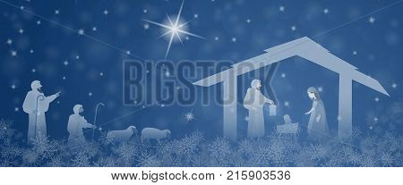 Christmas time. Nativity scene with Mary, Joseph, baby Jesus and the shepherds in Christmas landscape.