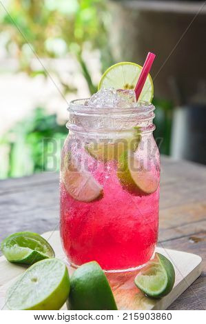 Red Lime Soda Soda Beverage A Mixture Of Red Nectar Salt Lemon And Soda Mixed Together To Refresh An