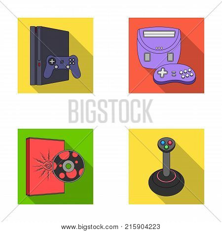 Game console, joystick and disc flat icons in set collection for design.Game Gadgets vector symbol stock  illustration.
