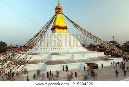 Prayer flags flying on the Boudhanath Stupa. symbol of Kathmandu, Nepal