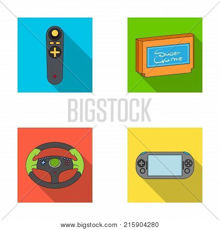 Game console and joystick flat icons in set collection for design.Game Gadgets vector symbol stock  illustration.