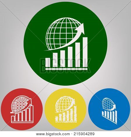 Growing graph with earth. Vector. 4 white styles of icon at 4 colored circles on light gray background.