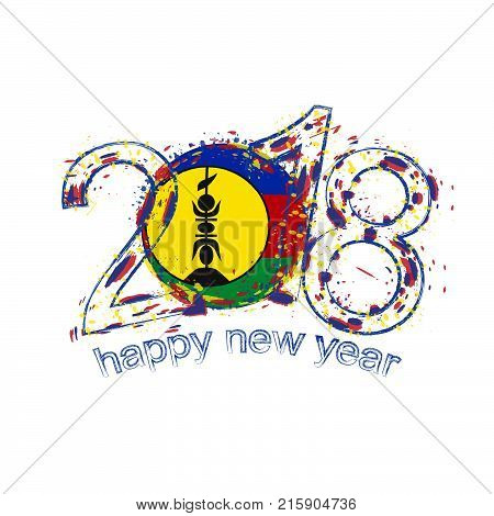2018 Happy New Year New Caledonia Grunge Vector Template For Greeting Card And Other.