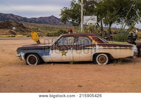 Route 66, Arizona, USA -- October  25, 2015: Views of the route 66 decorations in Arizona.