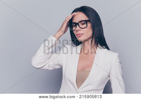 Portrait Of Unhappy, Unsatisfied, Confused, Overworked Professional Office Worker Wearing Smart Outf