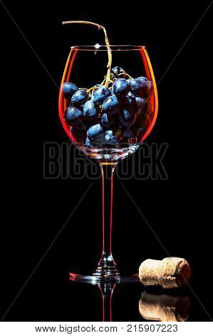 Elegant silhouette wine glass with cluster of red grapes and traditional cork from bottle on black background isolated.  Contour with gradient and highlights