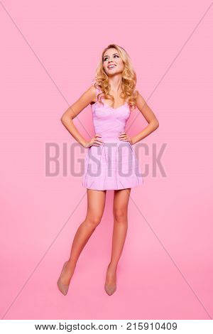 Full Length Front View Portrait Of Attractive, Caucasian, Cute, Positive Girl In Cocktail  Dress, Ho
