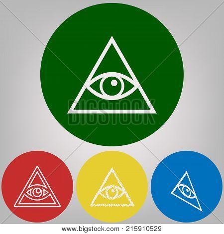 All seeing eye pyramid symbol. Freemason and spiritual. Vector. 4 white styles of icon at 4 colored circles on light gray background.
